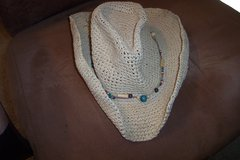 Straw cowgirl hat with beads/adjustable brim in Alamogordo, New Mexico