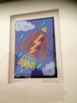 "Kids room - Beautiful Original Art Fused Glass ""Rocket Ship"" in Stuttgart, GE"