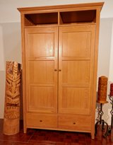 solid wood Bleached Oak TV Armoire with Receeding Doors in Ramstein, Germany