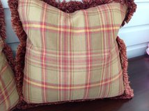 2 Custom Throw Pillows with Fringe (18') - Red & Green Ralph Lauren Plaid in St. Charles, Illinois