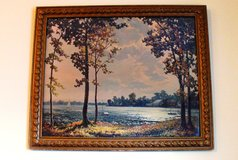Gold Antique Wood and Molded Tulips Framed Print of Lake Cabin Scene in Joliet, Illinois