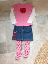 Girls Valentine's Day Outfit (Skirt + Shirt + Tights) - Gymboree Size 7 in Naperville, Illinois