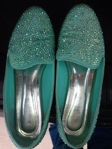 Swarovski encrusted Teal Flats in Fort Bliss, Texas
