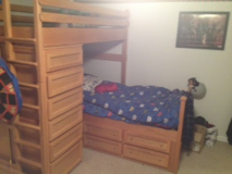 Oak twin captains bed with bunk in Travis AFB, California