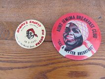 Reduced~Tin Reproduction Pin & Mirror.  Black Americana~Reduced in Sandwich, Illinois