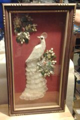 MID-CENTURY, SYMBOLIC WHITE PEACOCK SHADOWBOX, COMPLETELY HAND-MADE in Camp Lejeune, North Carolina