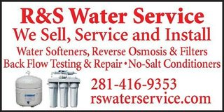 REVERSE OSMOSIS SYSTEMS/  rswaterservice.com     281-416-9353 in Sugar Land, Texas