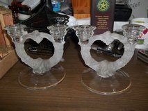 NICE PAIR FROSTED CANDLE HOLDERS in Warner Robins, Georgia