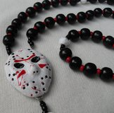Rosary Jason Friday 13th Hockey Mask Middle Halloween Rosary Necklace Black Red and White Lightw... in Kingwood, Texas