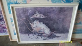 BABY in a Victorian buggy framed print signed by Debby Prager in Fairfield, California