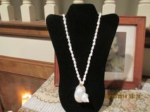 Polished Capiz Shell Pendant Necklace in Kingwood, Texas