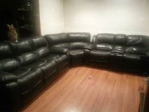 Black Leather Sectional Couch in Fort Drum, New York