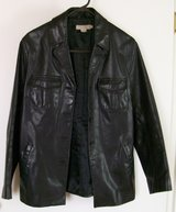 Vintage Black Leather Coat J-Crew brand in Yucca Valley, California