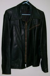 Vintage Black Leather Buckboard Coat in Yucca Valley, California