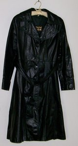 Black Leather Trench Coat Womens in Yucca Valley, California