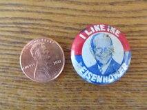Reduced~I Like Ike Election Pin~1952 in Yorkville, Illinois