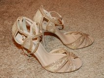 Gold Glitter Strappy Sandals 8 in Fort Leonard Wood, Missouri