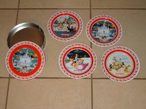 Set of 4 Disneyland Tin Plates in Metal Container New in Vacaville, California