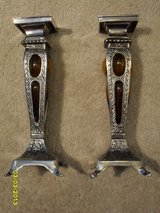 Ornate Elegant Glass and Metal Candle Sticks (2) in Sandwich, Illinois