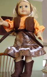 "Doll clothes for 18"" dolls, Cowgirl outfit includes skirt, vest, top, belt, headband & boots in Camp Lejeune, North Carolina"