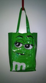 Green M&M vinyl tote bag in Spring, Texas