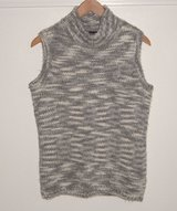 Jones New York Gray White Marble Wool Blend Mock Sleeveless Sweater Medium M in Yorkville, Illinois