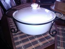 White Covered Casserole Dish in Fort Campbell, Kentucky