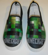 Boys / Girls Size 3 Hand Painted MINECRAFT Creeper Shoes in Kingwood, Texas