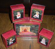 """5 PC 1993 Hallmark """"The Bearingers of Victory Circle"""" Christmas Ornament Lot in Kingwood, Texas"""