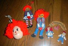 Vintage lot of Raggedy Ann & Andy Wooden Christmas Ornaments in Houston, Texas