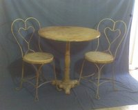 REDUCED AGAIN! 1910 Ice Cream Parlor Table with iron stand, 50's iron chairs in Conroe, Texas