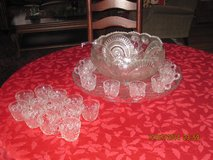 Antique Cut Glass Punch Bowl, with Tray, Ladle and Glasses in Yorkville, Illinois