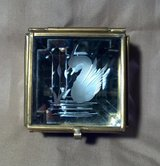 Mirrored Curio Jewelry Box, with Etched Swan, Brass Trim and Purple Glass in 29 Palms, California