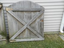Old weathered wooden barn gate/ door with metal hardware in Aurora, Illinois