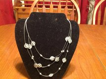NWT Silver Tone 3 Strand Necklace w/ Silver Beads in Houston, Texas