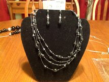NWT Silver Tone 4 Strands Silver and Black Bead Dangle Drop Earring Jewelry Set in Houston, Texas