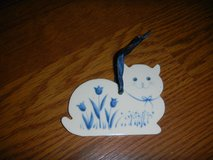 Blue & White Porcelain Kitty Cat RUSS Ornament in Houston, Texas