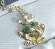 New Gold Frog Prince Neckalace and pendant Adorable with box! in Alamogordo, New Mexico