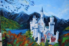 Large Neuschwanstein Painting on Canvas in Ramstein, Germany