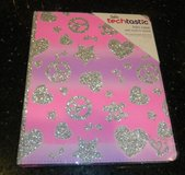 NEW Justice Pink W/ Sparkly Peace Signs Hearts Skulls iPad Cover in Kingwood, Texas