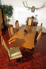 Walnut Diningroom Extendable Table with 6 Highback Chairs in Ramstein, Germany