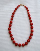 "VINTAGE MONET RED & GOLD TONE BEADS 9"" NECKLACE in Bolingbrook, Illinois"