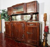 Antique Solid Wood Highboard with Marble Top in Ramstein, Germany