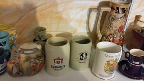 many different beer pots/steins in Ramstein, Germany