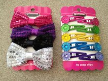NEW! (2 sets) Sequin Bows & Snaps Hair Accessories in Aurora, Illinois