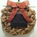 Welcome Red Chevron Burlap Wreath - New Low Price in Beaufort, South Carolina