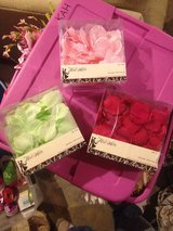 Red, green, pink, silk rose petals - never used in Batavia, Illinois