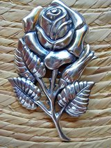 Vintage Danecraft Sterling Silver Repousse Rose Pin in San Antonio, Texas