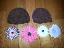 Crocheted hats with flowers in Shorewood, Illinois