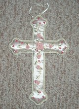 Girls Ivory Pink Floral Cloth Above Bed Cross in Morris, Illinois